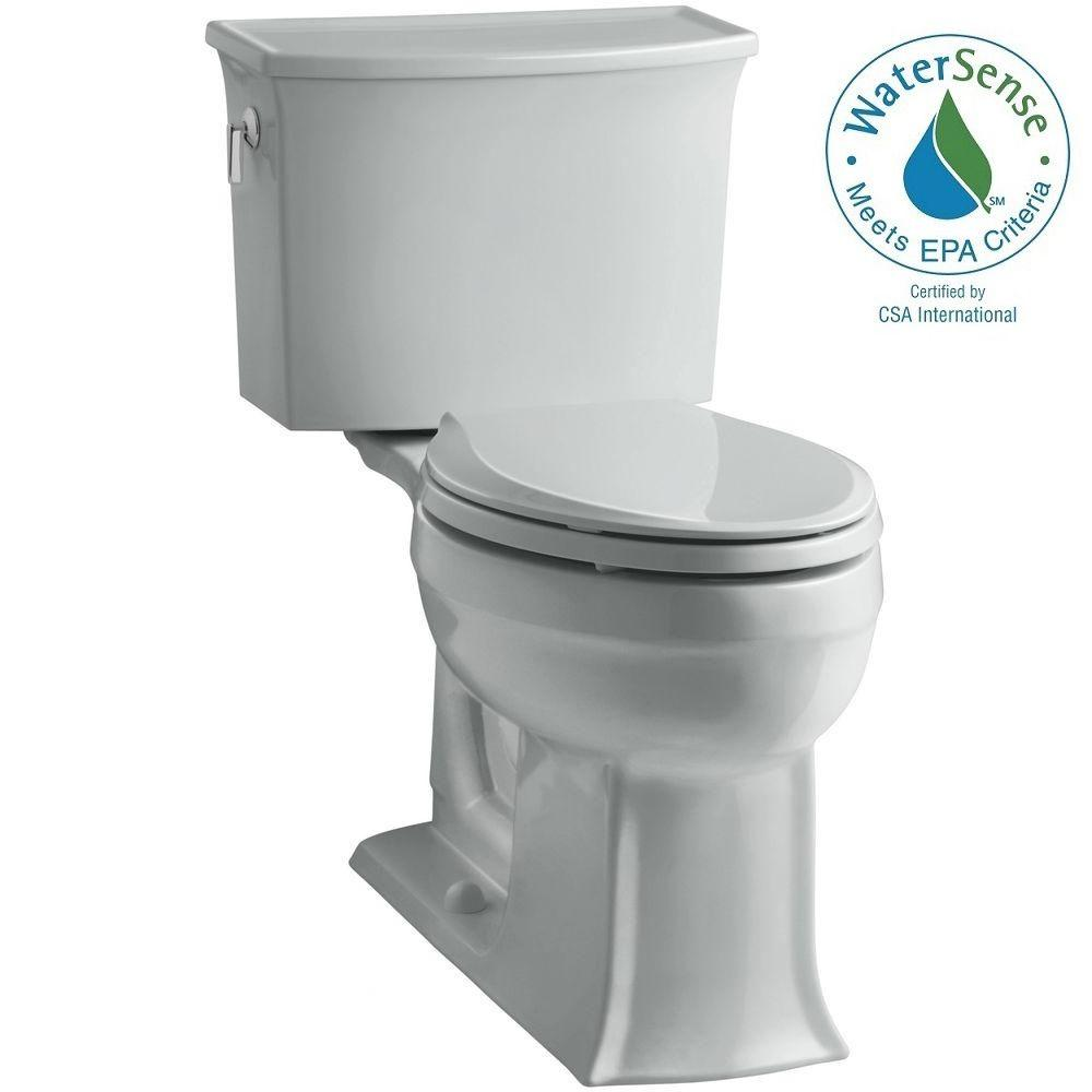 KOHLER Archer Comfort Height 2-piece 1.28 GPF Elongated Toilet with AquaPiston Flushing Technology in Ice Grey