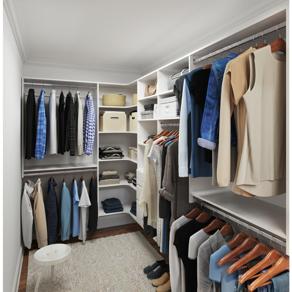 Closet Evolution Ultimate 84 in. W - 115 in. W White Wood Closet Corner System