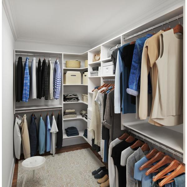 Ultimate 84 in. W - 115 in. W White Wood Closet Corner System