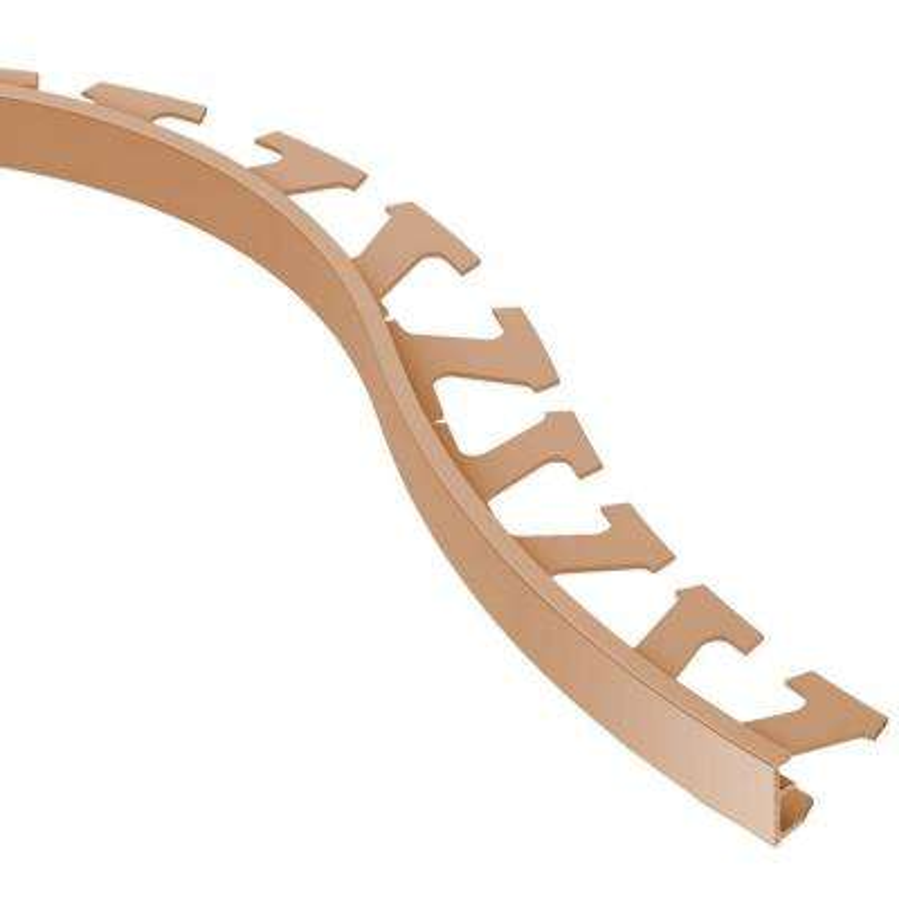 Jolly Satin Copper Anodized Aluminum 1/4 in. x 8 ft. 2-1/2 in. Metal Radius Tile Edging Trim