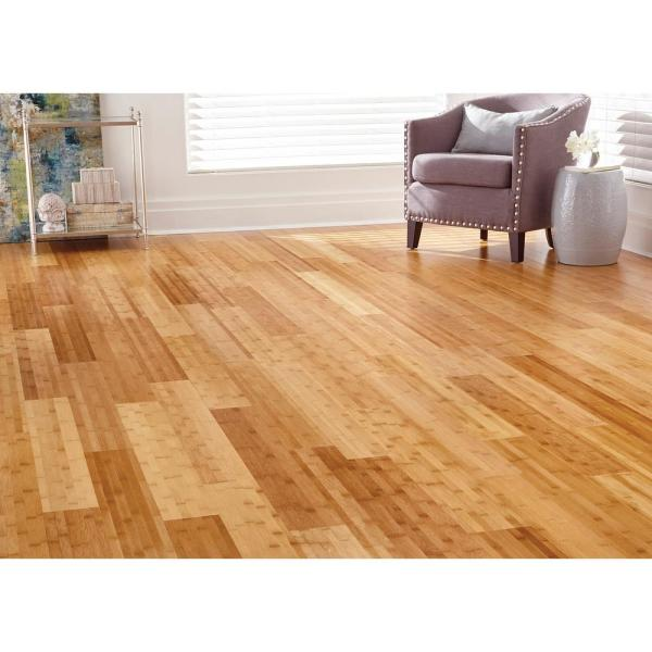 Home Decorators Collection Horizontal Toast 3 8 In T X 5 In W X 38 59 In L Engineered Click Bamboo Flooring Hl615h The Home Depot