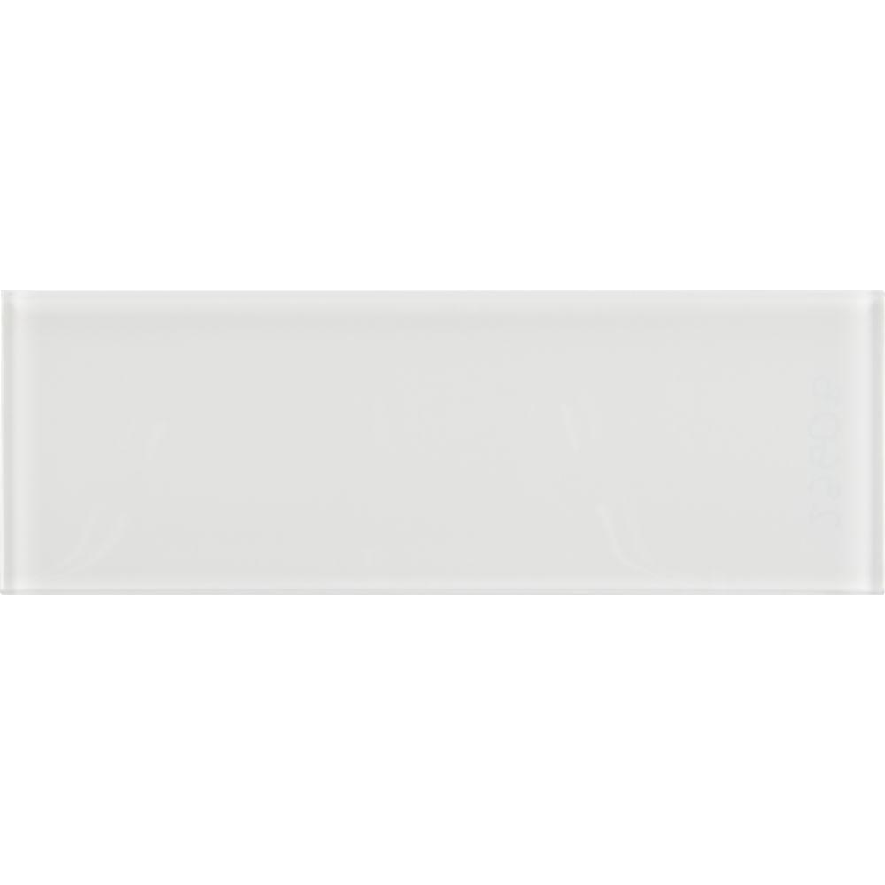 White glass backsplash tile