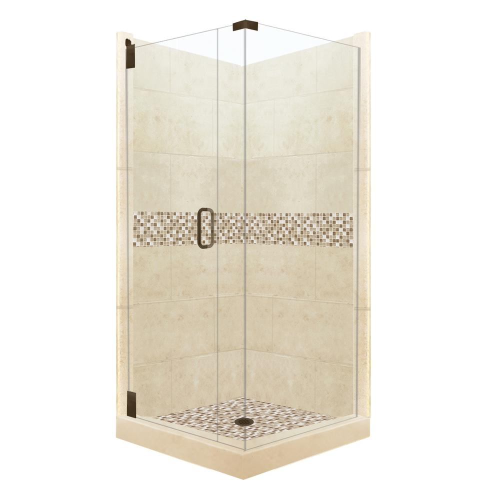 American Bath Factory Roma Grand Hinged 36 in. x 36 in. x 80 in. Left-Hand Corner Shower Kit in Desert Sand and Old Bronze Hardware