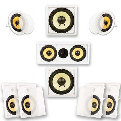 In-Wall/Ceiling Home Theater 7.2 Surround 8 in. Speaker Set