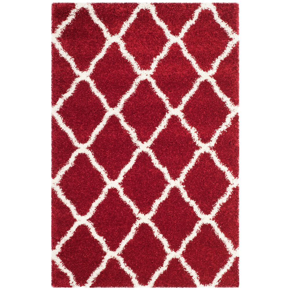 Hudson Shag Red/Ivory 4 ft. x 6 ft. Area Rug