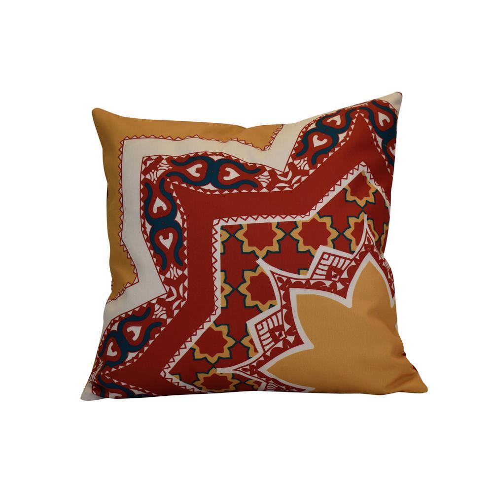 16 in. x 16 in. Rising Star, Geometric Print Pillow, Gold