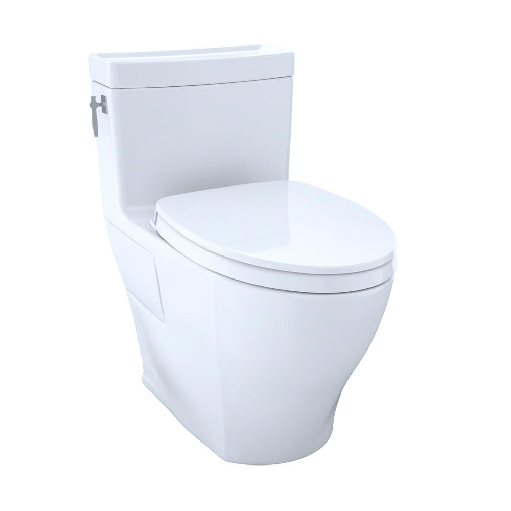 TOTO Aimes Wash Let with 1-piece 1.28 GPF Single Flush Elongated ...