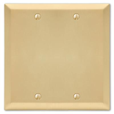 Metallic 2 Gang Blank Steel Wall Plate - Satin Brass