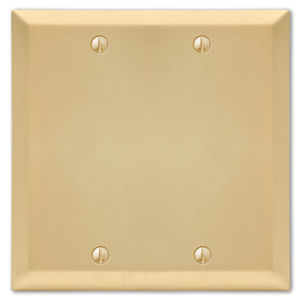 Metallic 2 Gang Blank Steel Wall Plate - Satin Brass