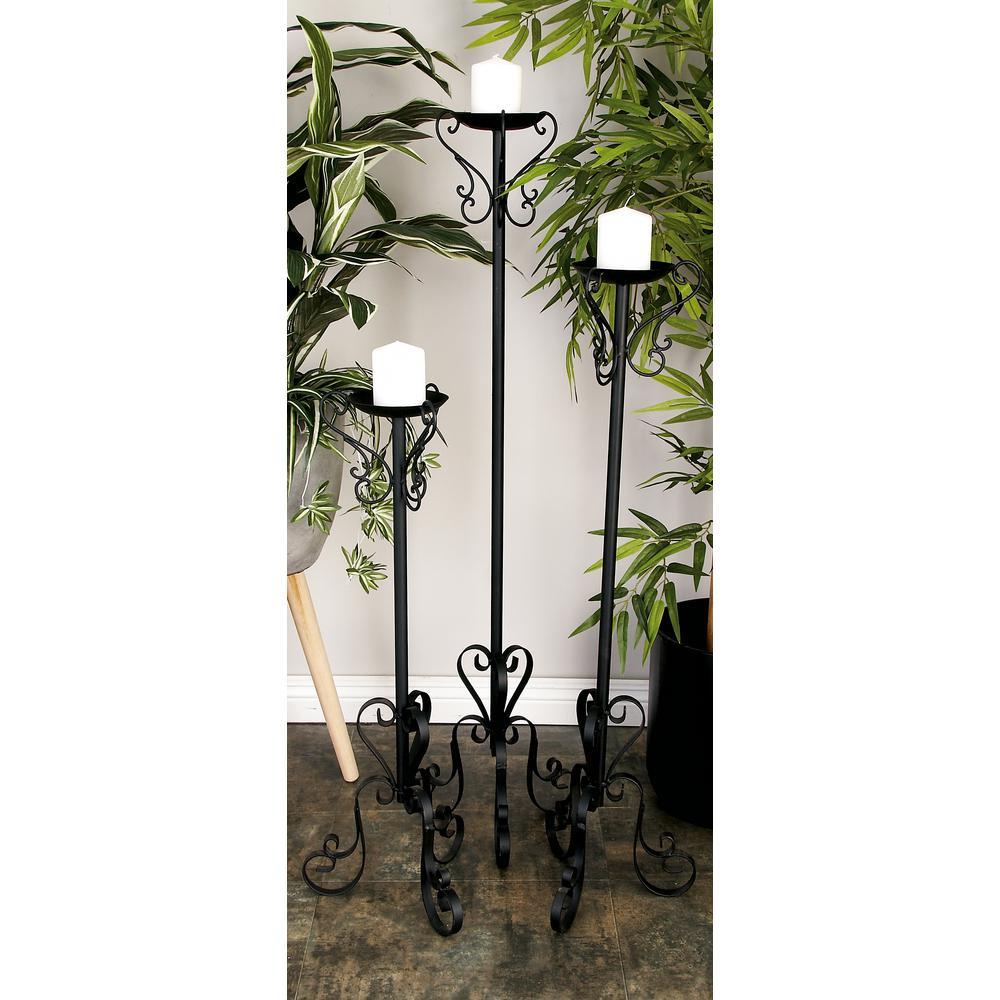 Litton Lane Black Tall Candle Holder Set Of 3