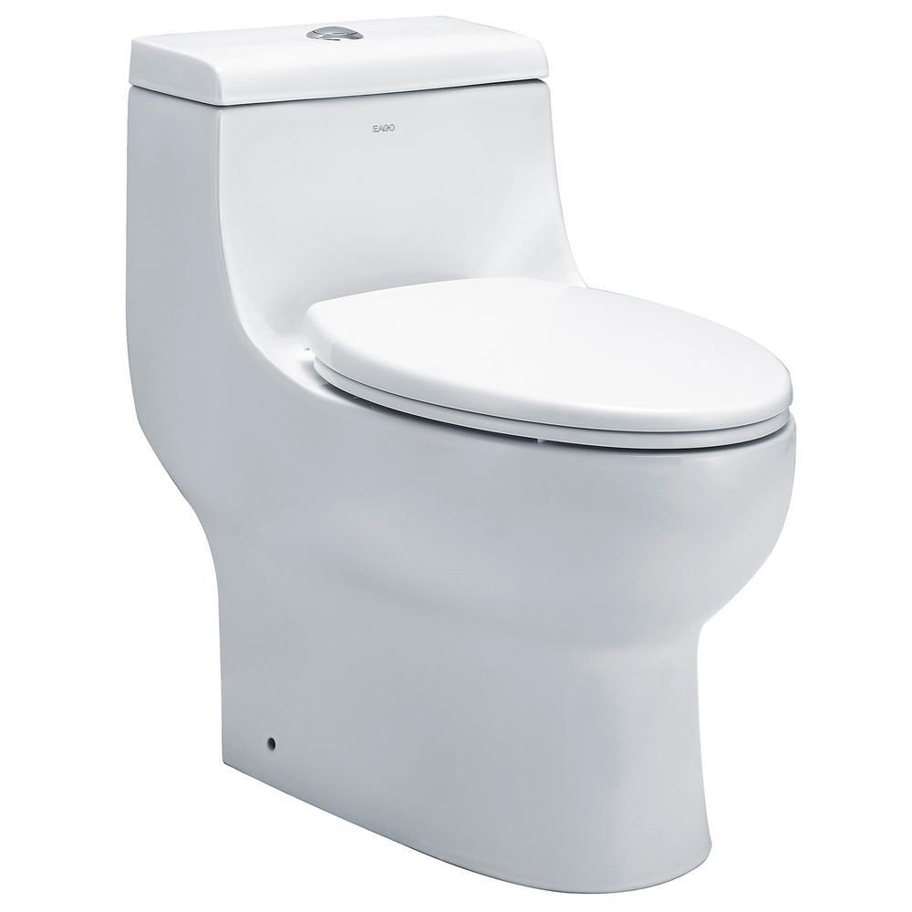 Eago 1 Piece 0 8 28 Gpf Dual Flush Elongated Toilet In White