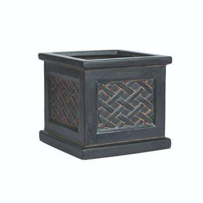 Lattice 11 in. Square Aged Charcoal Clay Planter