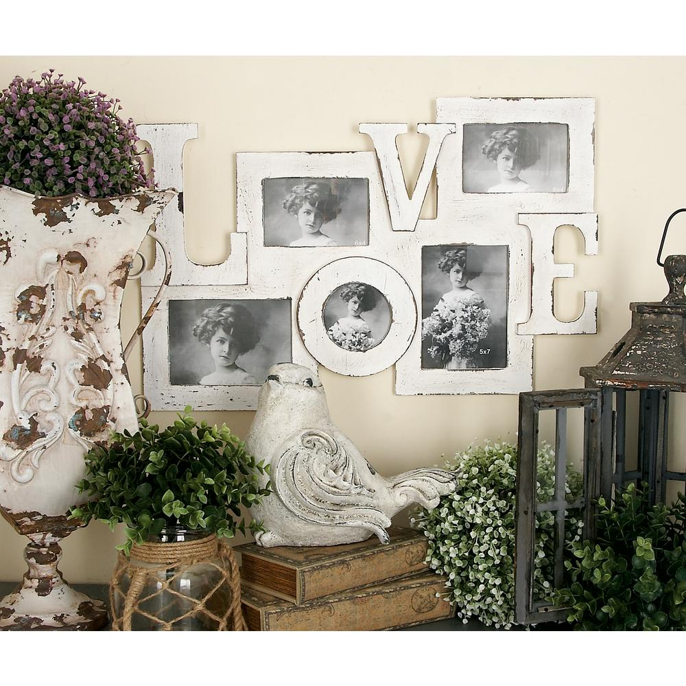 Litton Lane 5 Openings Assorted Vintage White Love Picture Frame