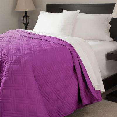 Solid Color Purple King Bed Quilt