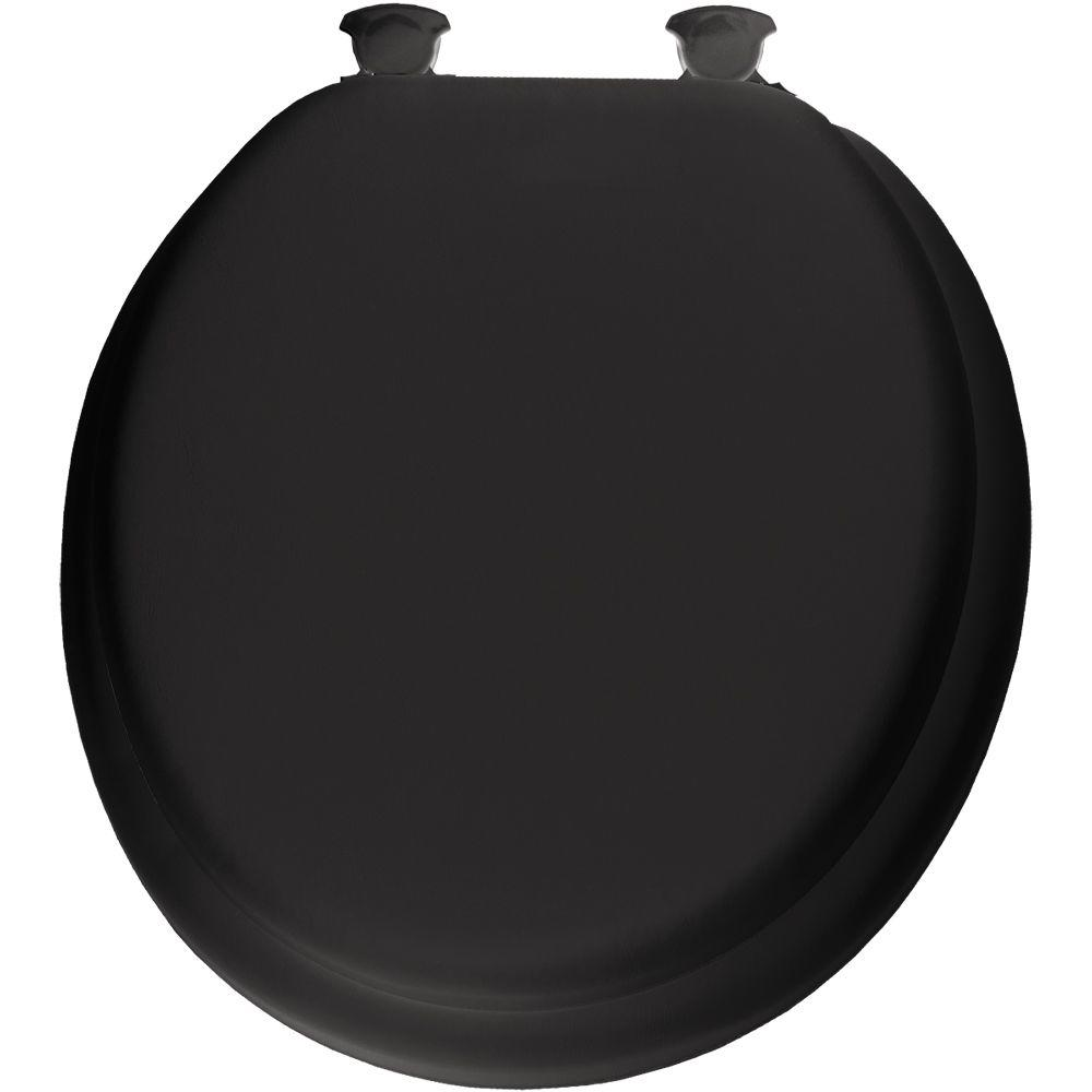 Lift-Off Soft Round Closed Front Toilet Seat in Black