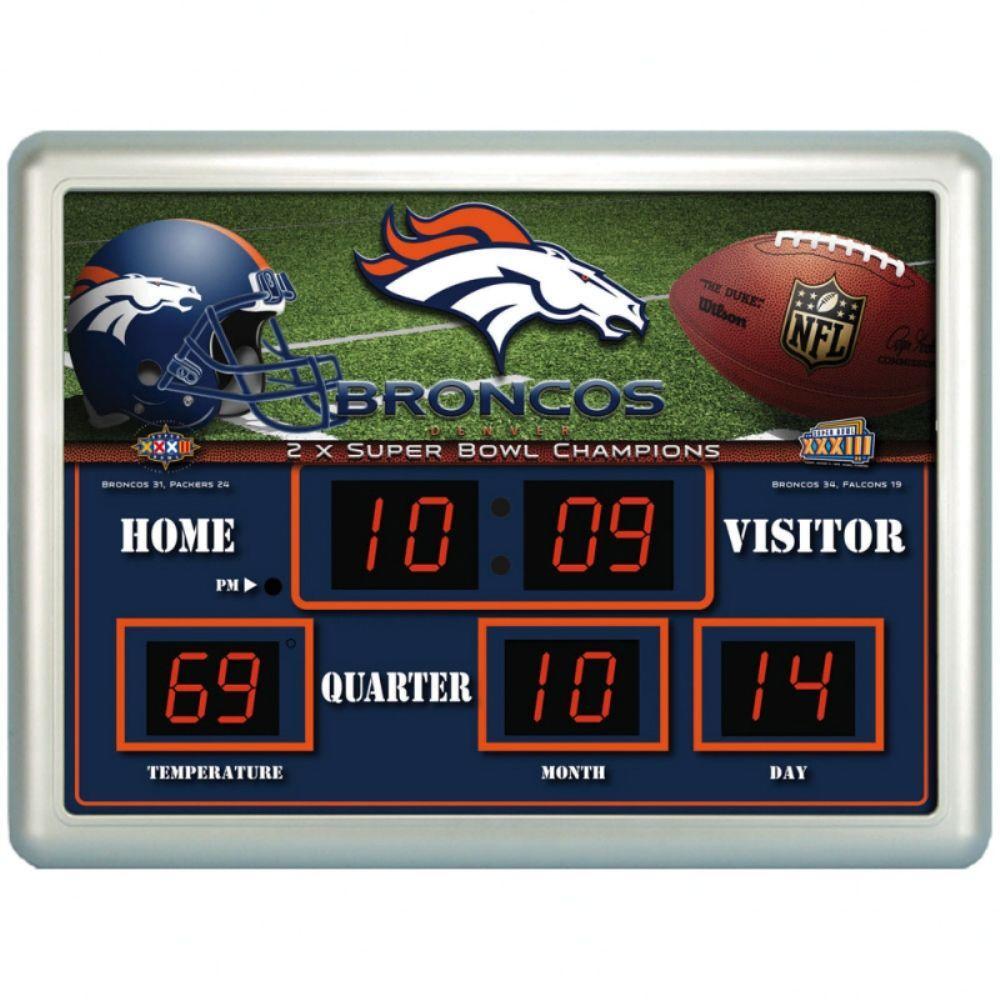 null Denver Broncos 14 in. x 19 in. Scoreboard Clock with Temperature
