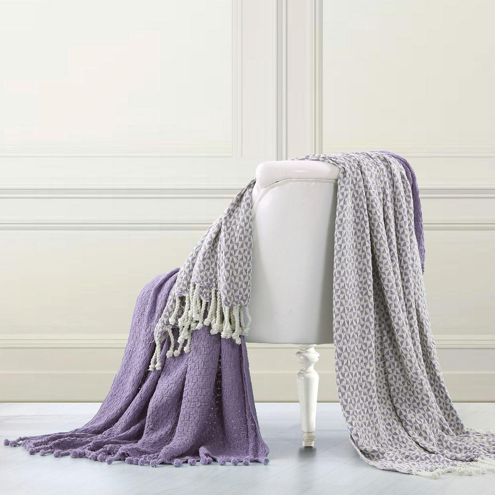 Modern Threads Lavender Throw Blanket Set Of 2 5ctntrpc Lvr St The Home Depot