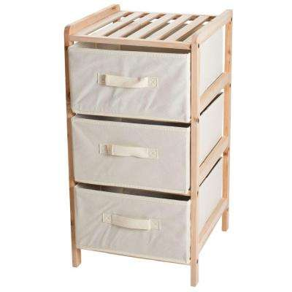 3-Drawer Organization Wood Fabric Unit with Shelf Top