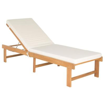 Inglewood Teak Brown 1-Piece Wood Outdoor Chaise Lounge Chair with Beige Cushion
