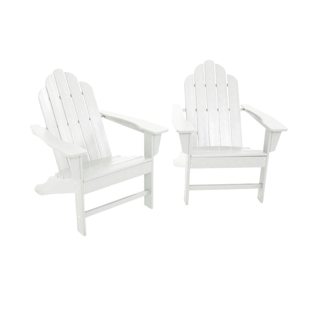 POLYWOOD Long Island White Adirondack 2-Piece Patio Seating Set