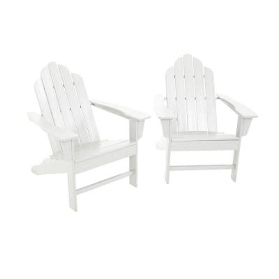 Long Island White Plastic Adirondack 2-Piece Patio Seating Set