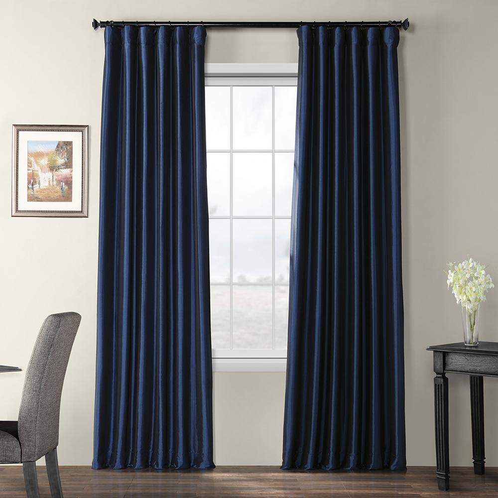 Navy Blue Blackout Faux Silk Taffeta Curtain - 50 in. W x 84 in. L