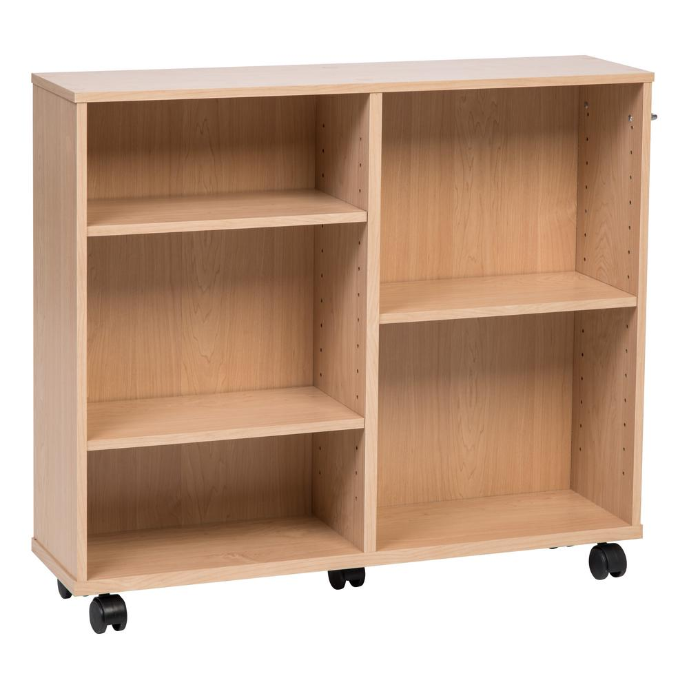 25.59 in. Light Brown Faux Wood 5-shelf Standard Bookcase with Adjustable Shelves