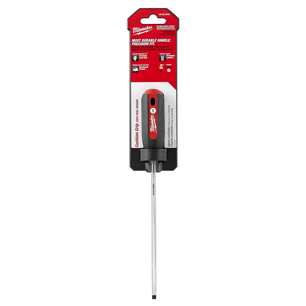 Milwaukee 3/16 in. x 6 in. Cabinet Screwdriver with Cushion Grip