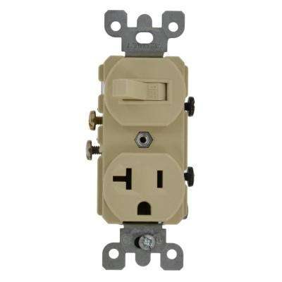 20 Amp Commercial Grade Combination Single Pole Switch and Receptacle, Ivory