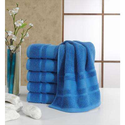 Solomon Collection 16 in. W x 30 in. H 100% Turkish Cotton Bordered Design Luxury Hand Towel in Blue (Set of 6)