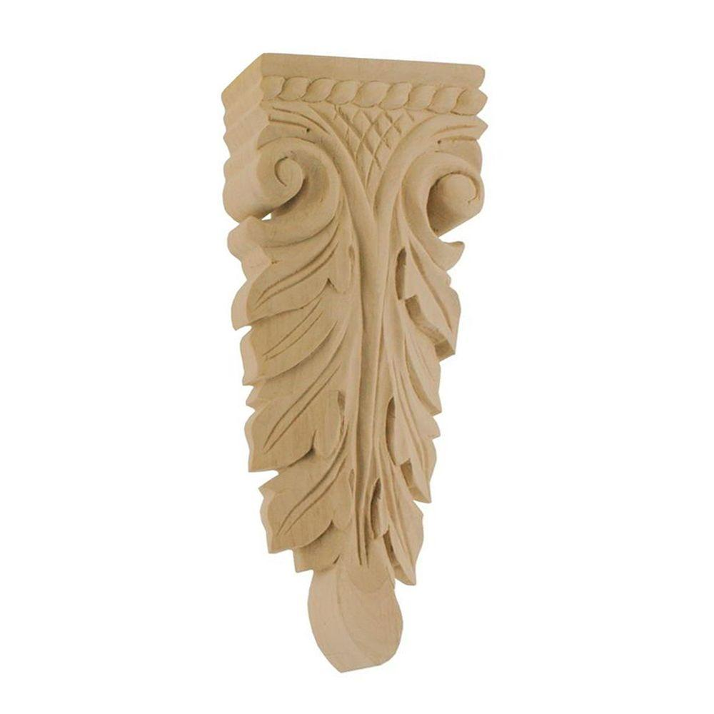 American Pro Decor 7-1/2 in. x 3-1/8 in. x 1 in. Unfinished Medium Hand Carved Solid Alder Wood Onlay Acanthus Wood Applique