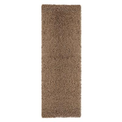 Shag Collection Beige 20 in. x 59 in. Shag Runner Rug
