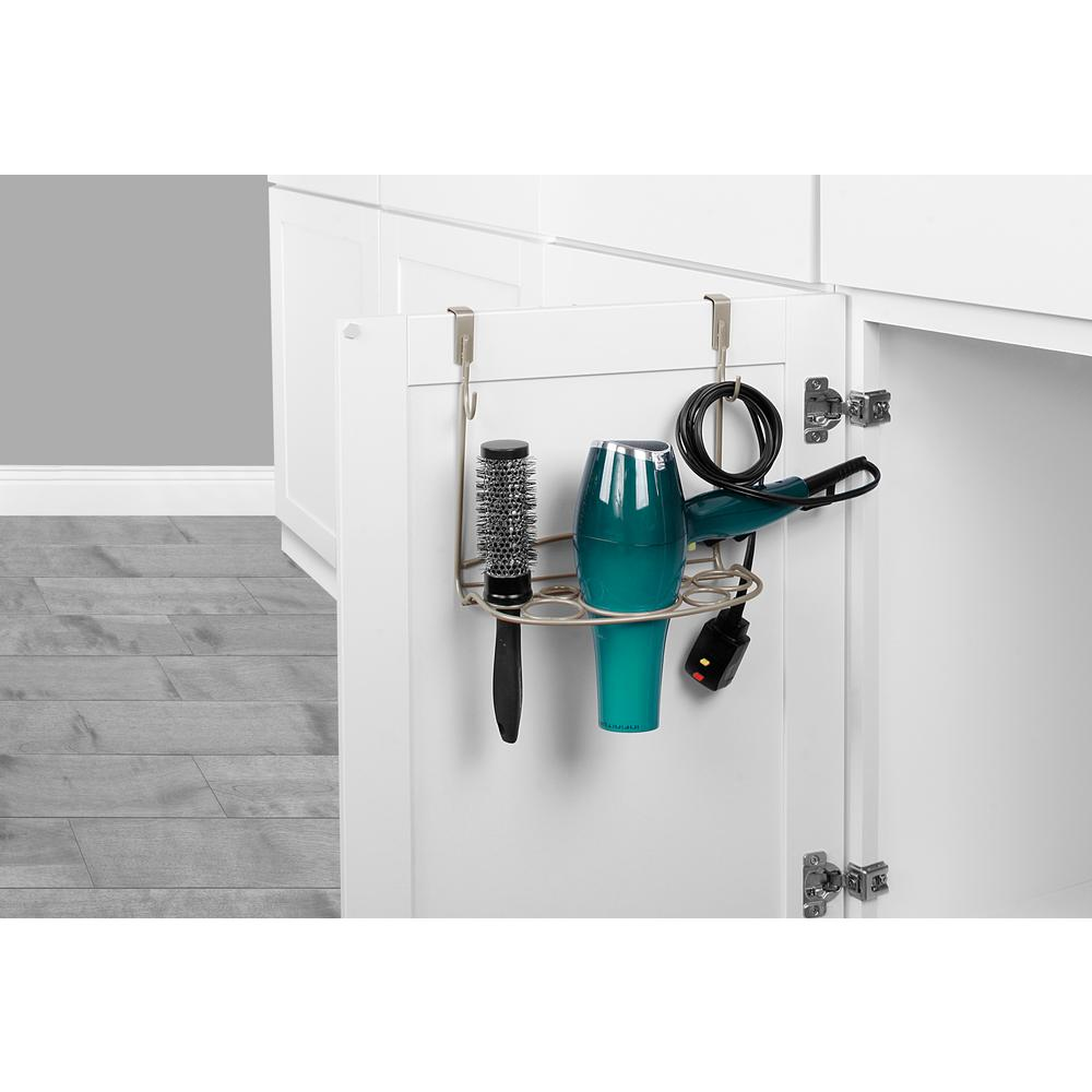 Spectrum MyBella 9.625 in. W Over the Cabinet Shapes Styling Rack in Satin Nickel Powder Coat Great for bathroom clutter-control, Spectrum's MyBella Over the Cabinet Styling Rack keeps hair care tools neatly organized. The padded foam brackets easily slide over standard cabinet doors and require no tools or installation. Made of sturdy steel, this hair care organizer neatly stores flat irons, curling irons, hair brushes and most hair dryers with concentrators attached. Also features two hooks and storage space to hang cords or other hair accessories. Color: Satin Nickel.