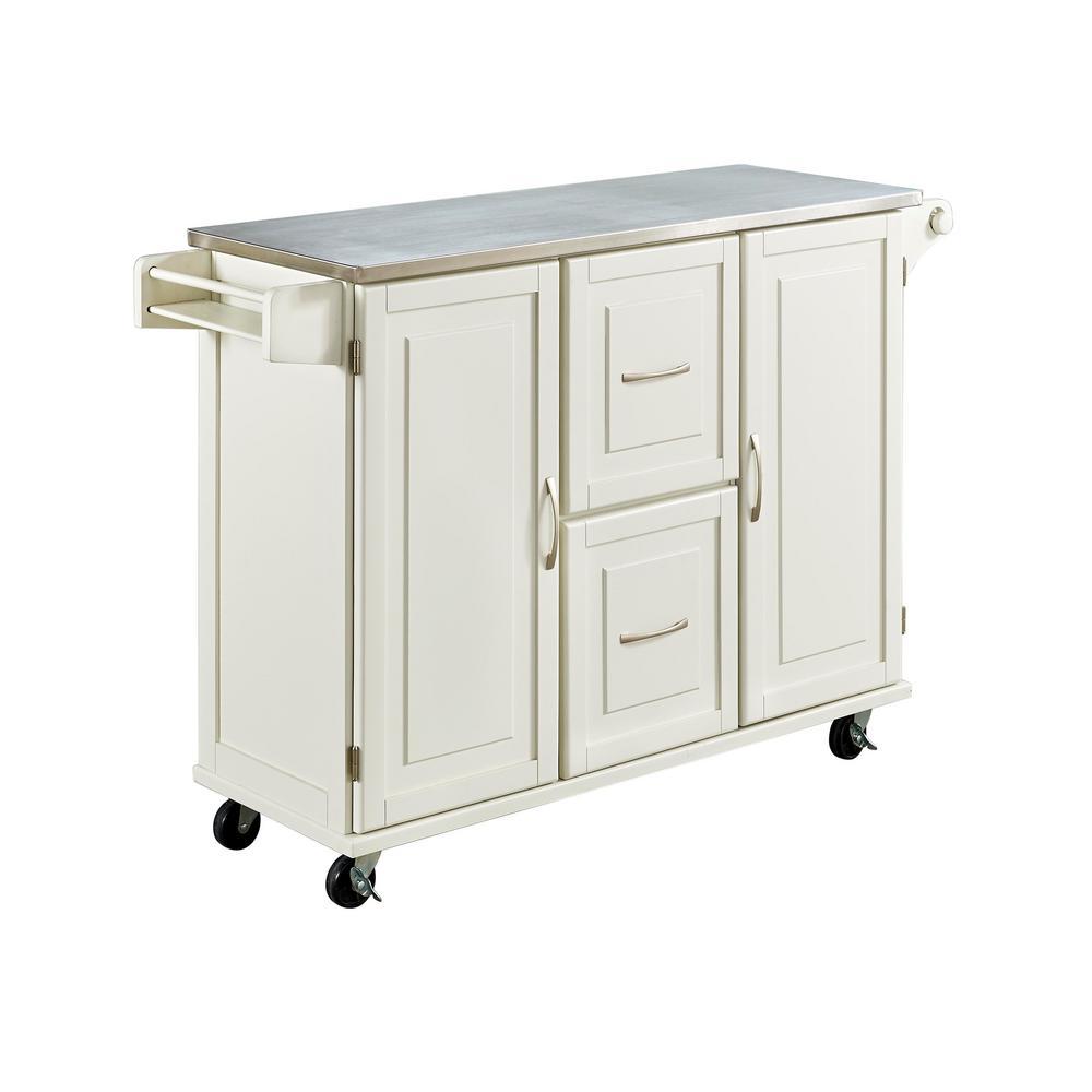 Home Styles Patriot White Kitchen Cart