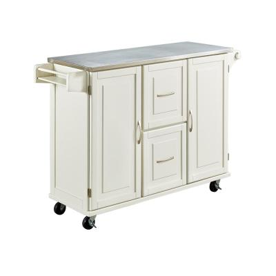 Patriot White Kitchen Cart with Stainless Top