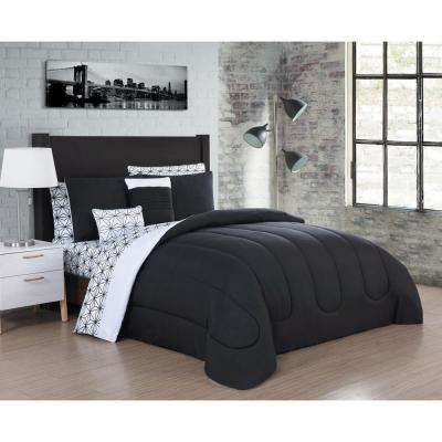 Julianna 9-Piece Black and White King Comforter (Set of 3)