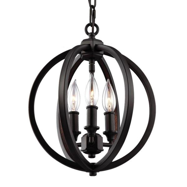 Feiss Corinne 3 Light Oil Rubbed Bronze Pendant F3059 3orb The Home Depot