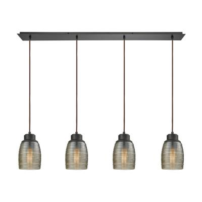 Muncie 4-Light Linear Pan in Oil Rubbed Bronze with Champagne Plated Spun Glass Pendant