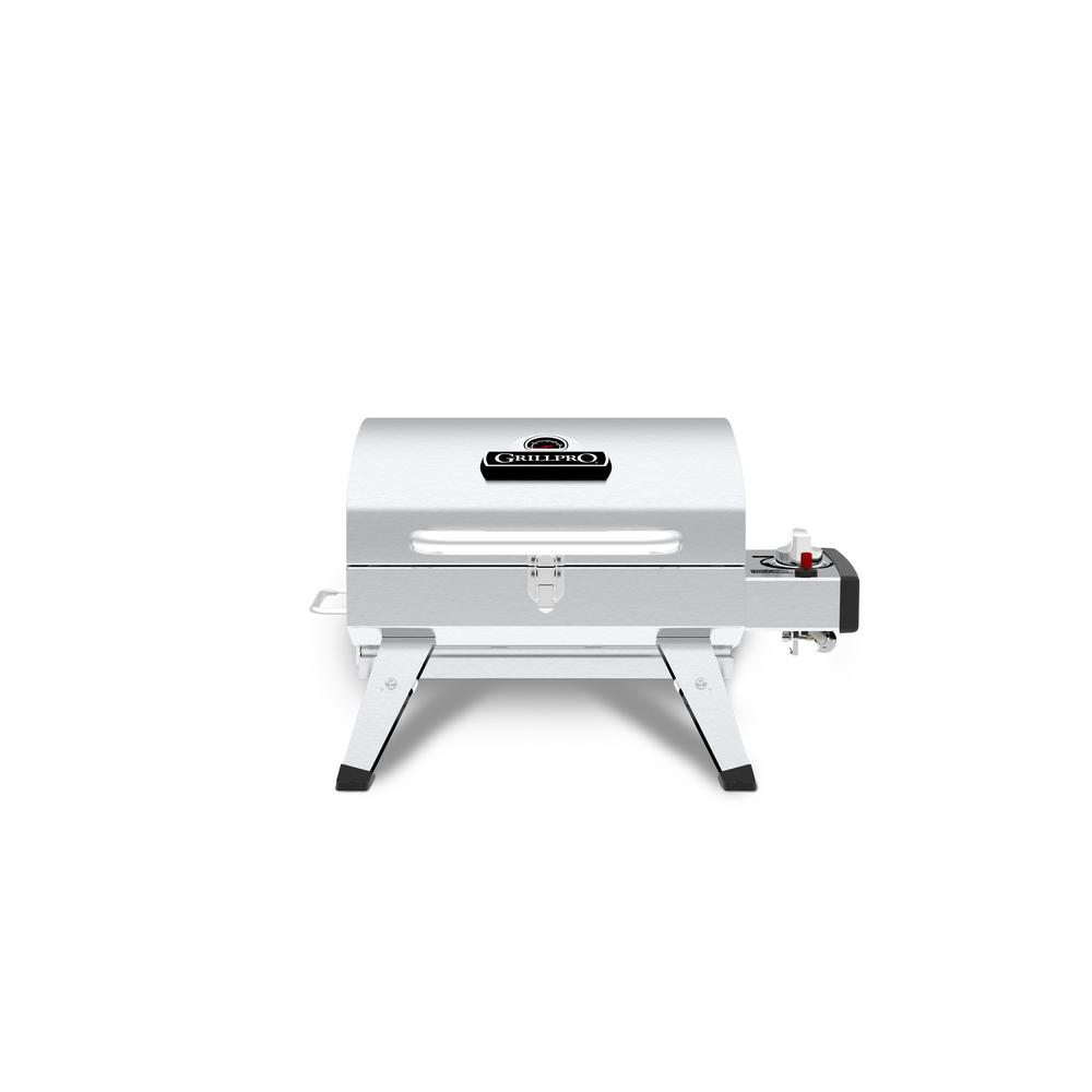 GrillPro Table Top Portable Propane Gas Grill in Stainless Steel, Silver Take grilling anywhere you go with the GrillPro Table Top Stainless Steel Portable Propane grill. This portable grill features an all-stainless steel construction for lasting durability in an attractive design. The 10,000-BTU stainless steel tube burner and Flav-R-Wave cooking system give you the performance and control of a full-size grill in a compact package. Ideal for tailgating, camping, boating, or a picnic in the park, the GrillPro Table Top Stainless Steel Portable Propane grill lets you take the BBQ taste wherever you go.