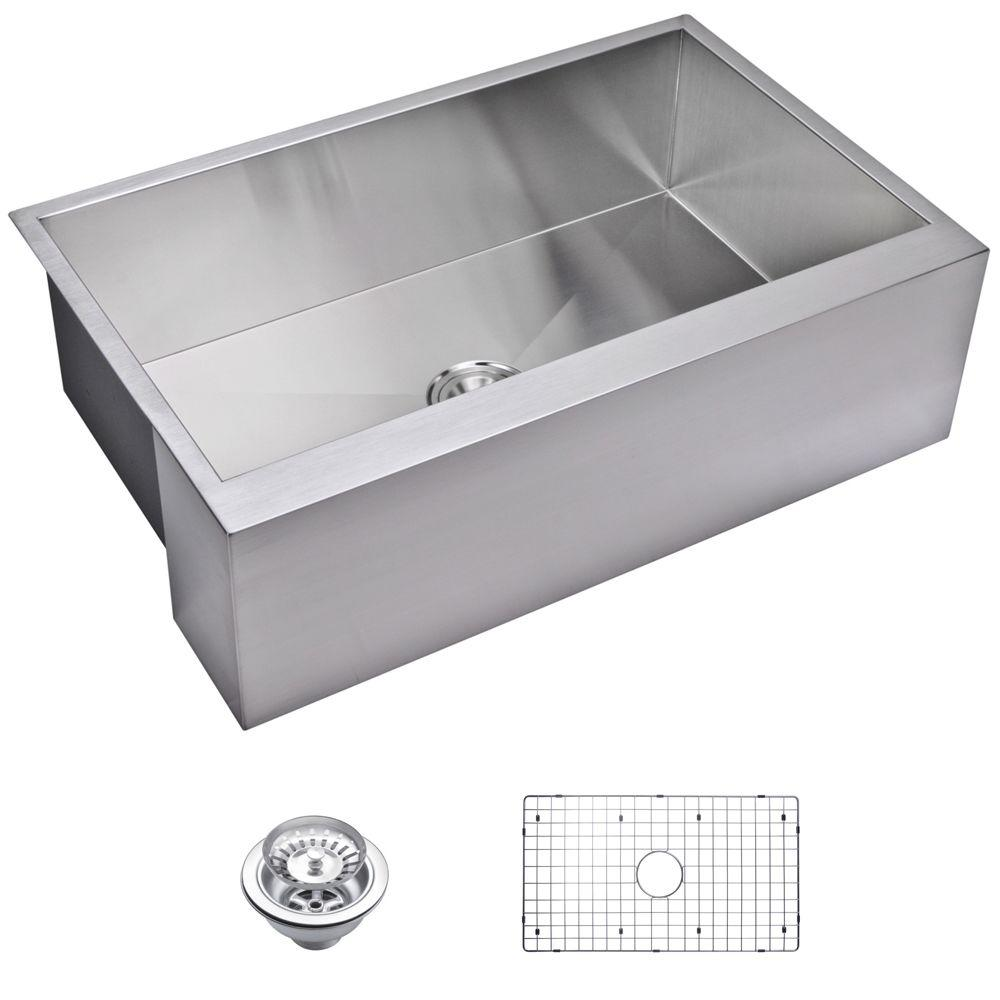 Water Creation Farmhouse Apron Front Zero Radius Stainless Steel 33 in. Single Basin Kitchen Sink with Strainer and Grid in Satin