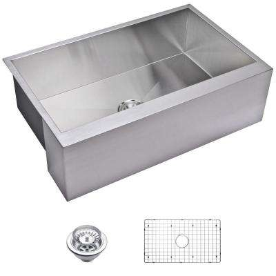 Farmhouse Apron Front Zero Radius Stainless Steel 33 in. Single Bowl Kitchen Sink with Strainer and Grid in Satin