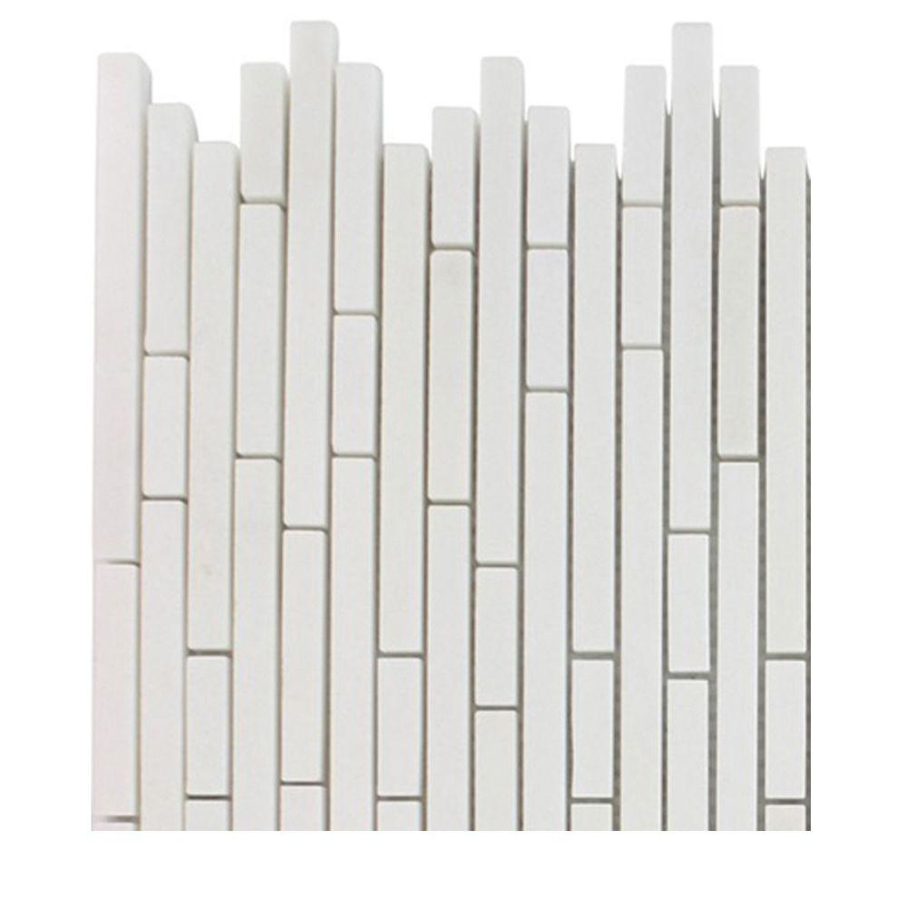 Windsor 1/4 in. x Random White Thassos Pattern Marble Mosaic Tiles - 6 in. x 6 in. Tile Sample