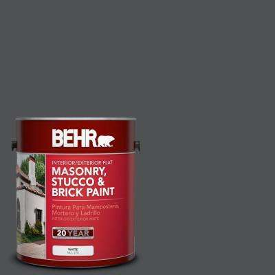 1 gal. #BXC-30 Black Space Flat Interior/Exterior Masonry, Stucco and Brick Paint