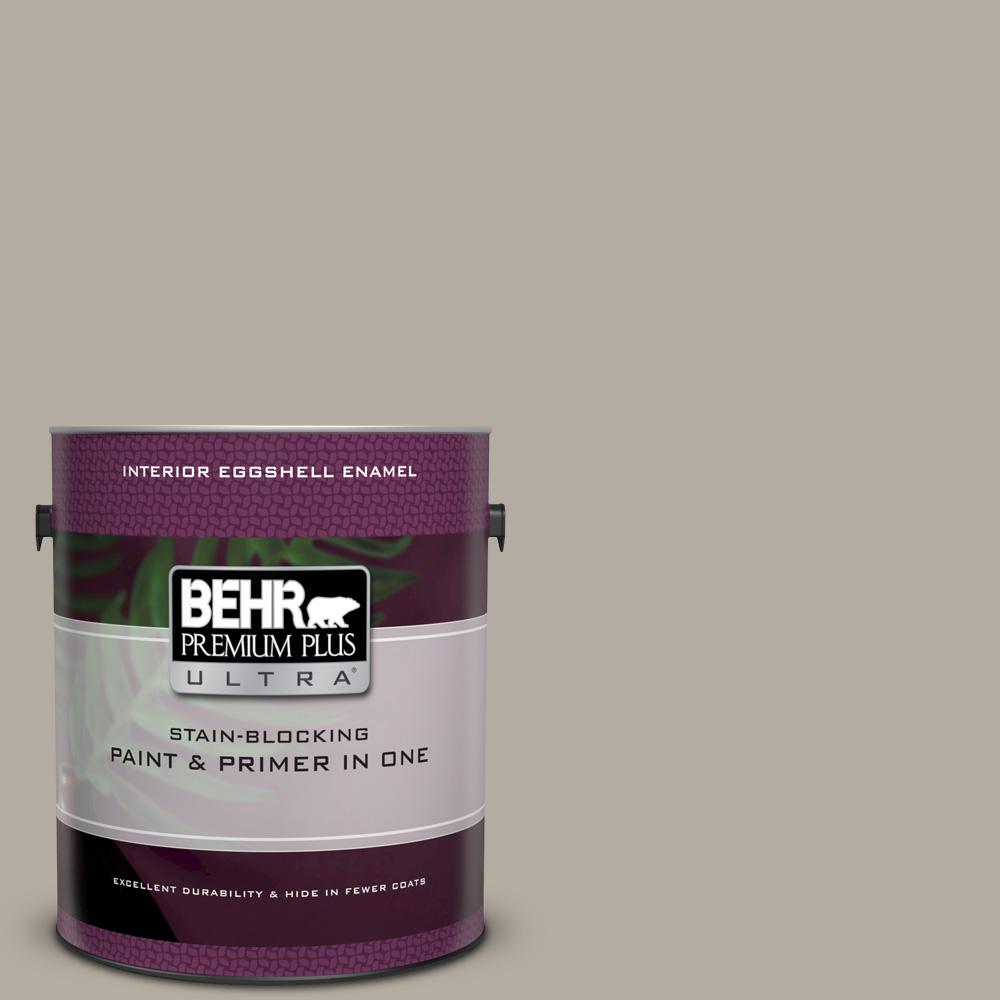 BEHR Premium Plus Ultra 1 gal. #UL260-8 Perfect Taupe Eggshell Enamel Interior Paint and Primer in One