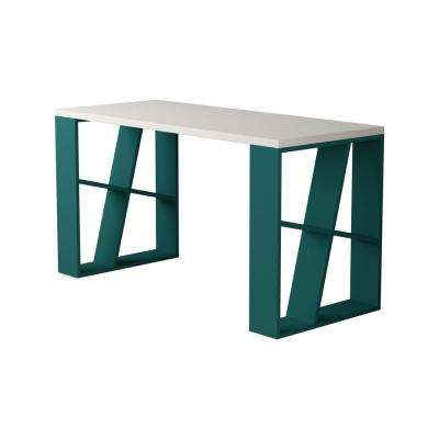 Brian White and Turquoise Modern Desk