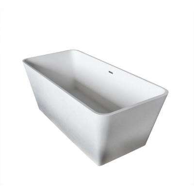 Cenere 4.9 ft. Man-Made Stone Center Drain Freestanding Bathtub in Matte White