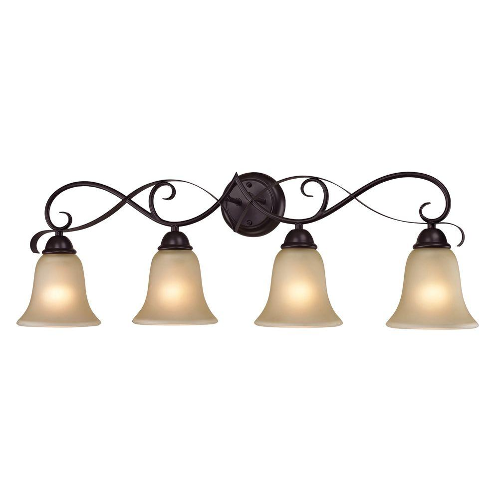 Titan Lighting Brighton 4-Light Oil-Rubbed Bronze Wall Mount Bath Bar Light