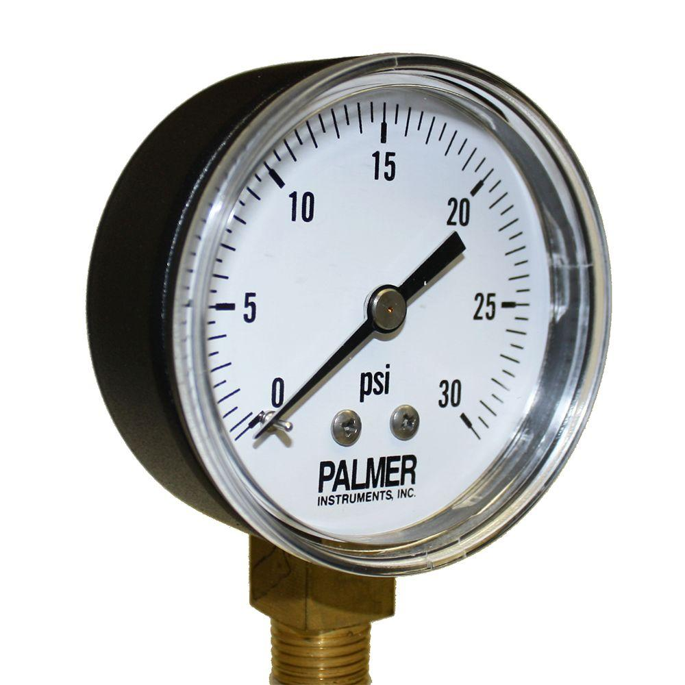 Palmer Instruments 2.5 in. Dial 30 psi Painted Steel Case Utility Gauge