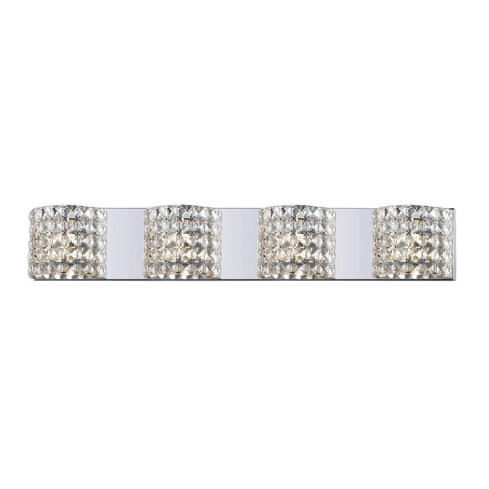 Lawrence 4-Light Chrome Steel Contemporary Bath Light with Clear Crystal Shades, Bulbs Included