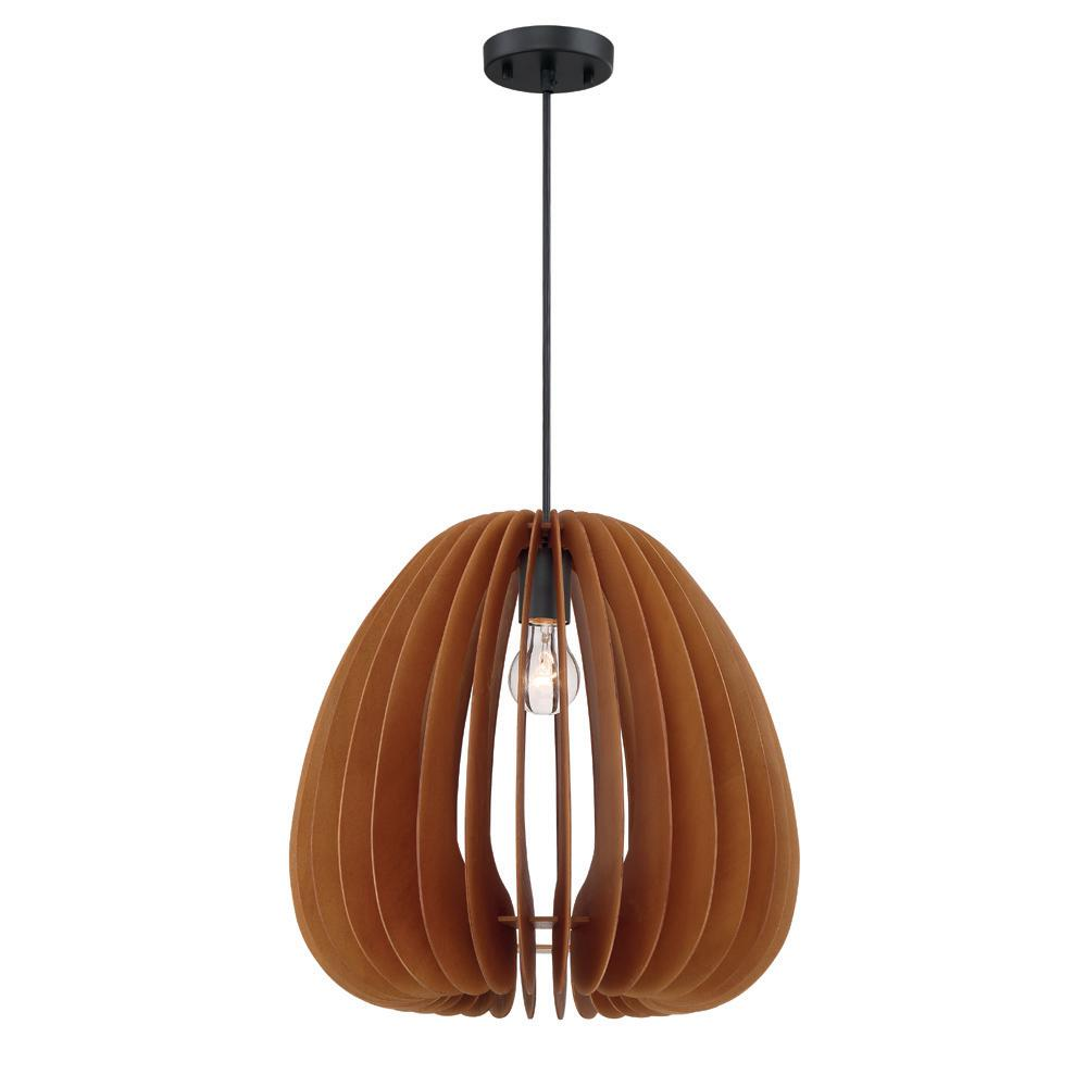 Lika 1 Light Mehana Wood Hanging Pendant